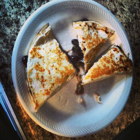 black bean and cheese quesadilla