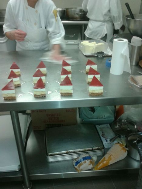 Cheesecakes being packaged in the kitchen!