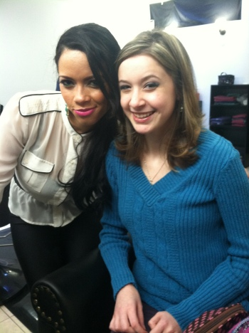 Patricia and I after she showed me how to do my makeup!